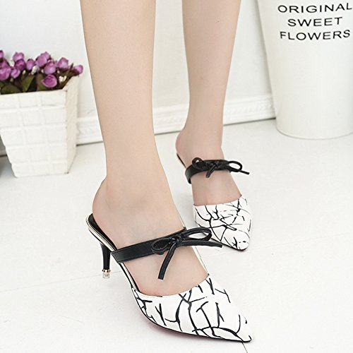 CYBLING Womens Pointed Toe Studded Strappy Fashion Thin Heel Pumps Sandals Slippers White/Bowknot QONHZH