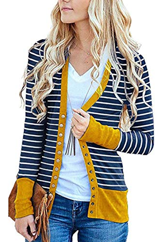 Stripes Beige Snap (FAFOFA Women Stripe V Neck Snap Button Down Open Front Ribbed Cardigan Knitwear Yellow S)