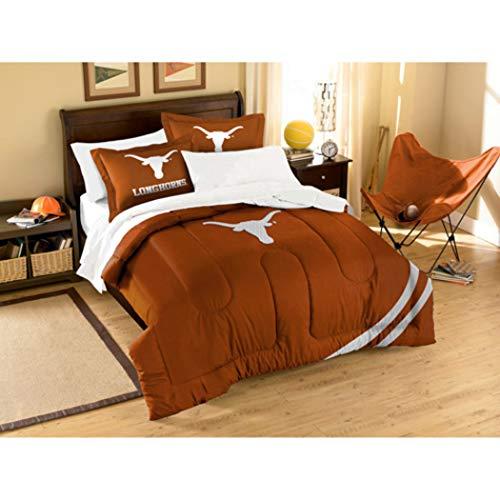 Texas Longhorns Comforter Full/Twin Set, College Foot Ball Themed, Orange, Sports Patterned Bedding, Unisex, Fan Merchandise, Team Spirit, Team Logo ()