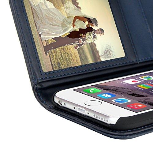 iPhone 6S Plus Hülle, EnGive Ledertasche Schutzhülle Case Tasche mit Standfunktion und Karte Halter (iphone 6s Plus, blau)