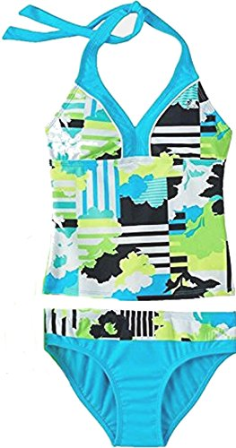 Zero Xposur Big Girl's Abstract Print Tankini Swimsuit Set 2 Piece (10)