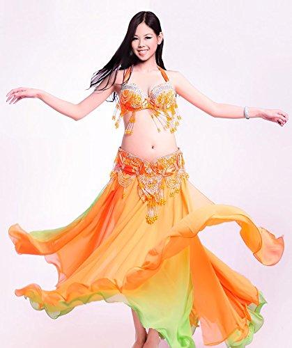 ベリーダンス 衣装 セット ベリーダンス コスチューム ブラトップ 腰ベルト スカートのセット 衣装 コスチューム B075NL3JGR Large|オレンジ オレンジ Large