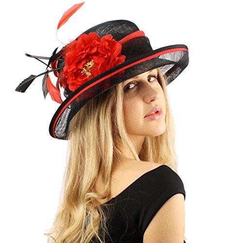 Orange dress black fascinator hats