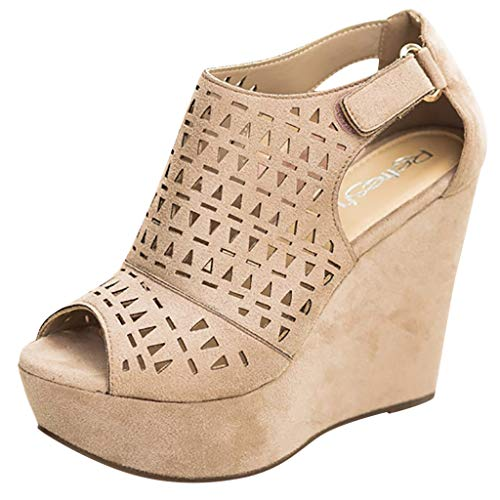 Womens Wedge Sandals, Adjustable Ankle Strap Comfort Platform Sandal, Casual Hollow Open Toe Sandals Dress Shoes Beige