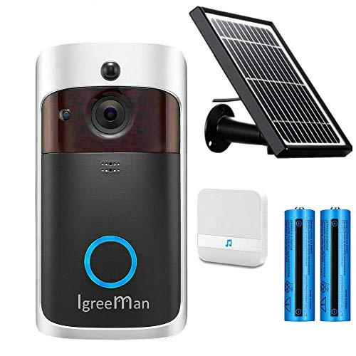 Igreeman Smart Video Doorbell WiFi IP Security Camera, Wireless Powered 720P Realtime Push Alerts Watchdog Surveillance System, Free Cloud Storage and Heat-Base PIR Motion Detection