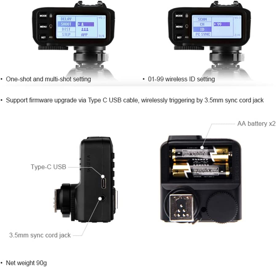 Godox X2T-C for Canon TTL 1//8000s HSS Wireless Flash Trigger Transmitter,5 Separate Group Buttons New AF Assist Light New Hotshoe Locking Relocated Control-Wheel