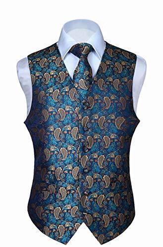 HISDERN Men's Paisley Floral Jacquard Waistcoat & Neck Tie and Pocket Square Vest Suit Set -