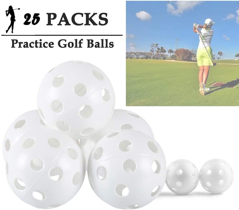 ASVEL 25 Packs Practice Golf Balls Plastic Airflow Hollow 5 inch Wiffle Golf Balls for Driving Range, Swing Training, Indoor Outdoor Use