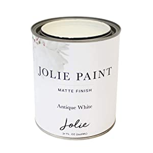 Jolie Paint - Water Based, Non-Toxic, and Quick Drying Paint for Furniture, Floors, Walls, Home Accessories. (Quart-32oz, Antique White)