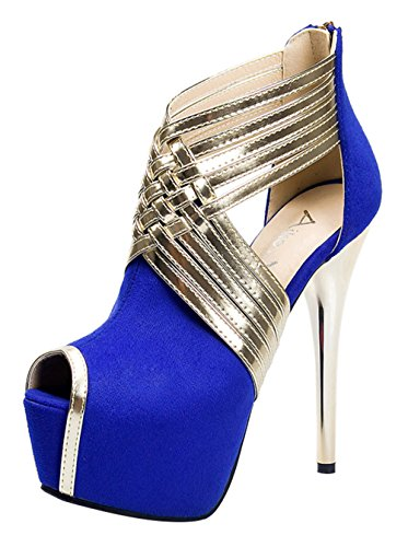 - T&Mates Womens Fashion Peep Toe Extreme High Sexy Stiletto Heel Cut Out Back Zipper Platform Pumps (6 B(M) US,Blue)