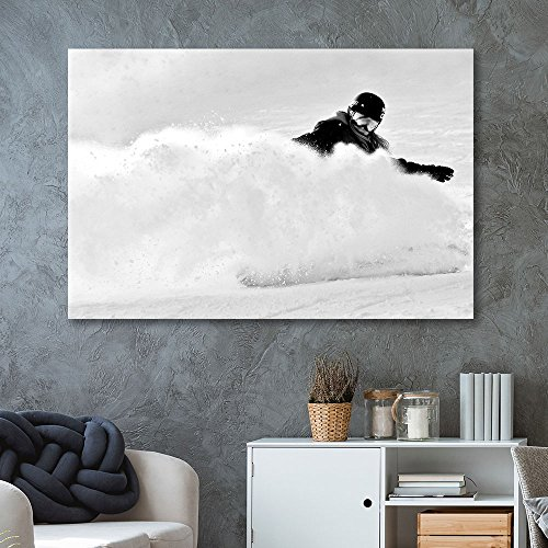 wall26 - Canvas Wall Art Sports Theme - Skiing in Black White - Giclee Print Gallery Wrap Modern Home Decor Ready to Hang - 32x48 inches (Best Skiing In China)