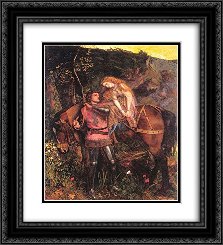 Arthur Hughes 2x Matted 20x24 Black Ornate Framed Art Print 'La Belle Dame Sans - Dame Sans Framed Merci Belle