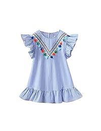 Baby Girls Dresses, Changeshopping Toddler Kids Soft Stripe Tassel Ruffles Dresses
