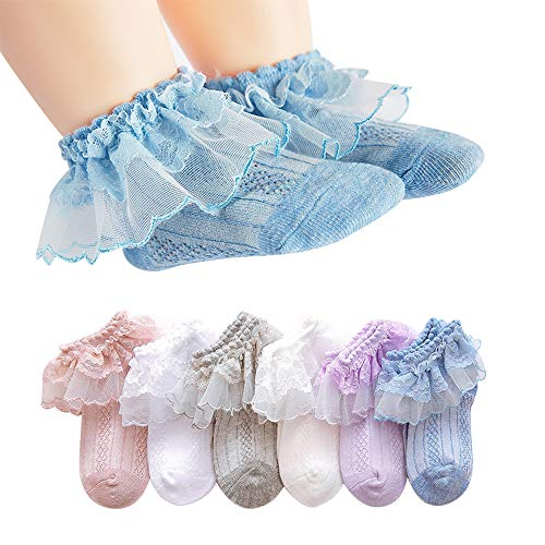 (Juebm Baby Girls Summer Ruffles Lace Frilly Socks,Dress Socks Thin Mesh for Infant Toddlers Little Girls(6pairs/3-5Years))