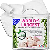 World's LARGEST Waterproof Diaper Changing Pad Cover Liners (3 pk) - 35 x 18 In. Complete Protection For Your Table. Makes a Great Travel Change Mat Too.