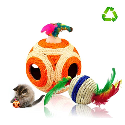 huhuba Cat Toy Balls, Cat Scratcher Six Holes Sisal Rope Ball Interactive Toy