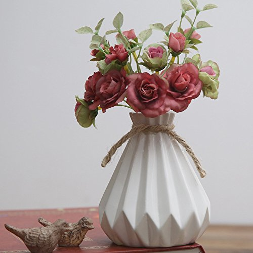 Victorian Vase Bud (Cone Ceramic Flower Vase, Shabby Chic Small Bud Vase, Decorative Floral Vase Vintage Home Decor, Table Top Centerpieces (White))
