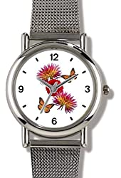 Two Monarch Butterflies & Dahliias Flowers - WATCHBUDDY® ELITE Chrome-Plated Metal Alloy Watch with Metal Mesh Strap-Size-Small ( Children's Size - Boy's Size & Girl's Size )