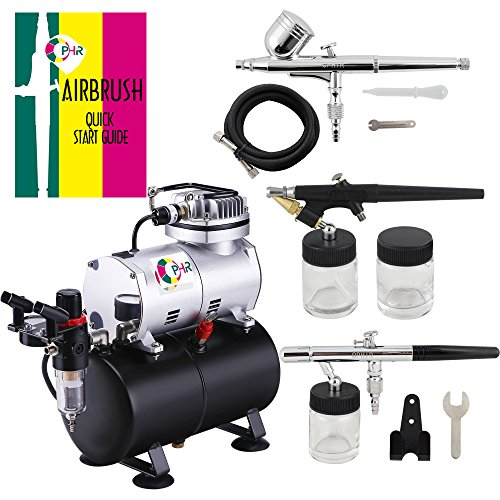 OPHIR 3-Airbrushes Dual Action & Single Action 110V Air Brush Compressor Kit with Tank for Hobby Tattoo Cake by OPHIR