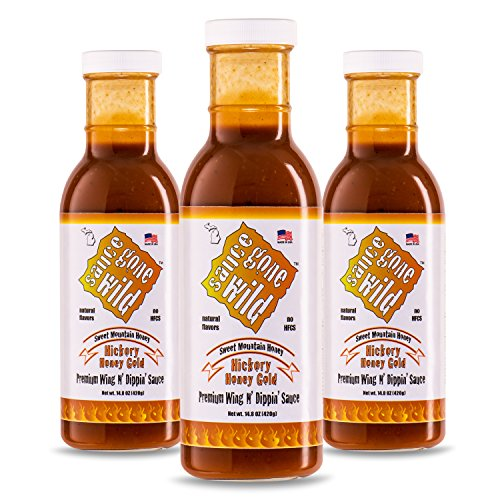 - Sauce Gone Wild Wing Sauce - Honey Hickory Flavor - 13.1oz - 3 Bottles - Hot Marinade for Grilling & Cooking Chicken - Made in USA - Tasty Restaurant Style Wings at Home