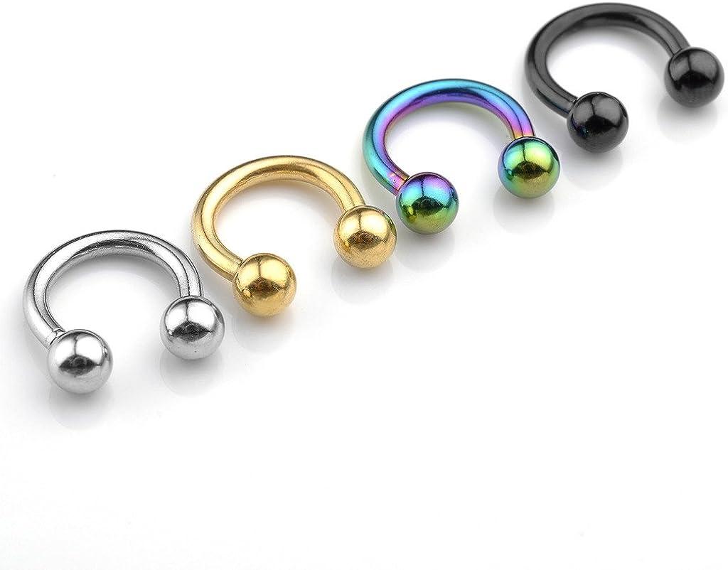 "Jovivi 2-8pc 14G Stainless Steel Nose Septum Captive Hoop Ring Barbell Tragus Cartilage Stud Earrings 5/16"" Dia"