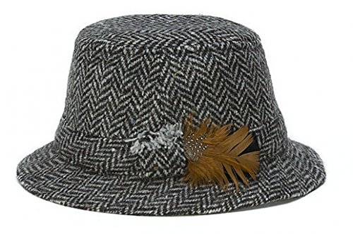 - Hanna Hats Men's Donegal Tweed Original Irish Walking Hat (X-Large, Gray Herringbone)