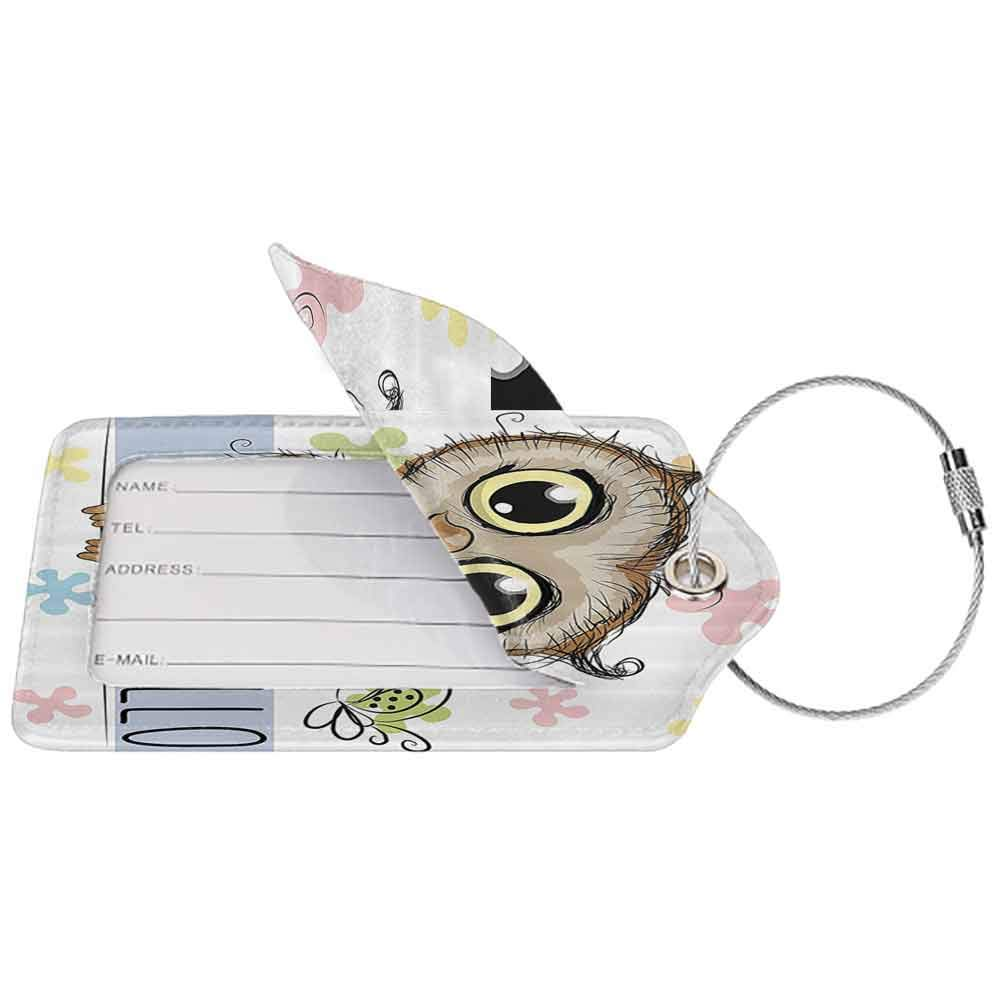Durable luggage tag Owl Kids Cartoon Animal Butterfly on Floral Background with Hello Message Colorful Daisies Print Unisex Multicolor W2.7 x L4.6