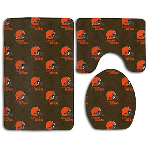 Jerrymoaus Cleveland Browns Simple Repeat Lock Water Anti-Skid Bathroom Three-Piece Set