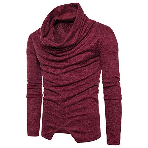 Fondo Camisa Cuello Redondo Punto Tamaño Hombres Color De Red Larga Suéter  Gran Prendas Wine Manga ... f95106ba9f47