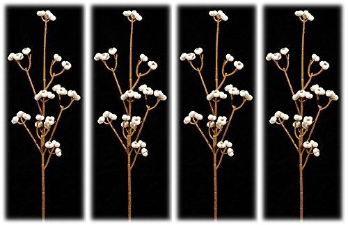 Artificial White Tallow Berry Sprays - Set of 4