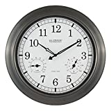 La Crosse Technology WT-3181P 18 Inch Indoor/Outdoor Thermometer & Hygrometer Metal Wall Clock