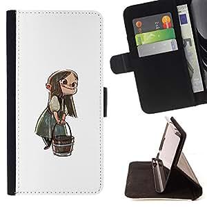 BullDog Case - FOR/Samsung Galaxy Note 4 IV / - / ANIME GIRL CARTOON FAIRY TALE CHARACTER BUCKET /- Monedero de cuero de la PU Llevar cubierta de la caja con el ID Credit Card Slots Flip funda de cuer