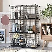 Bookshelf with Multi-Function Space-Saving Metal Organizer Wire Shelves Cubes Storage Portable Storage Shelf R