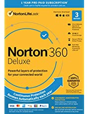 Norton 360 Deluxe 2021 – Antivirus software for 3 Devices with Auto Renewal - Includes VPN, PC Cloud Backup & Dark Web Monitoring powered by LifeLock [Key Card]