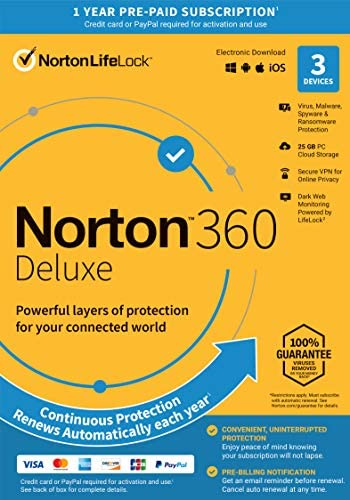 Norton 360 Deluxe 2021 – Antivirus software for 3 Devices with Auto Renewal – Includes VPN, PC Cloud Backup & Dark Web Monitoring powered by LifeLock [Key Card]