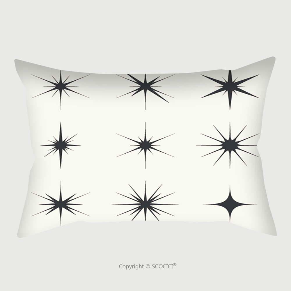 Custom Satin Pillowcase Protector Vector Set Of Sparkle Lights Stars. Stars With Rays, Explosion, Fireworks. Light Background Pillow Case Covers Decorative