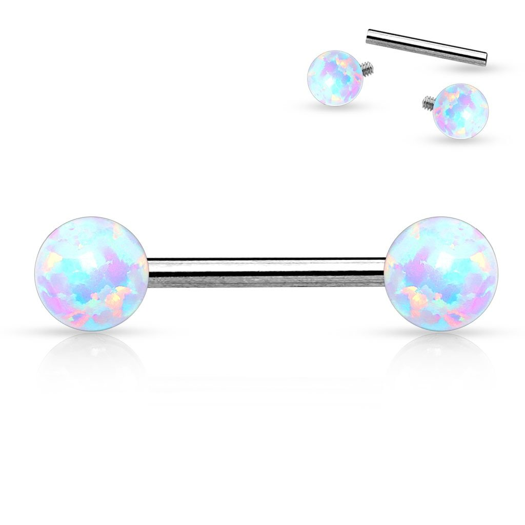 Nipple Bar 14g Internally Threaded Opal Balls on Both sides 316L Surgical Steel pair HO 3317 KSI05-OP22pink