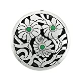 Sterling Silver Floral Mandala Brooch Pin Pendant w/ Green Crystals, 1 5/8 inch