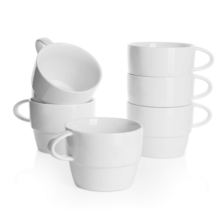 impilabili Sweese set da 6 bianco 320 ml cappuccino cioccolata calda per t/è Tazze da caff/è in porcellana latte