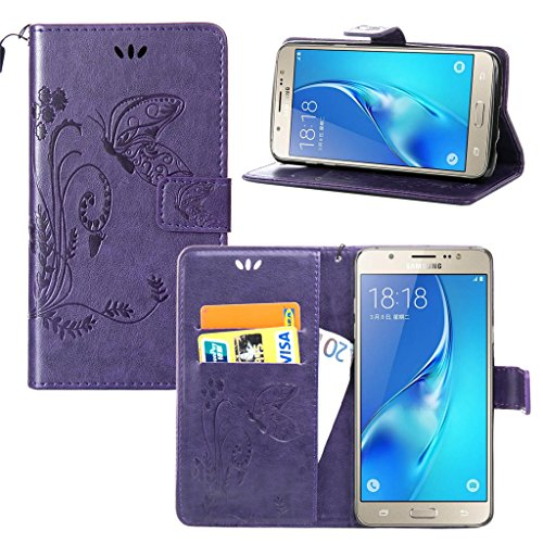 Erdong® Magnético Folio Flip Caso Con pata de cabra titular de la tarjeta Para Samsung Galaxy J7(6) & J7(2016), Elegant Simple Book-style [Púrpura flor de mariposa] patrón de impresión cuero del sopor