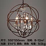 LilaminsThebox The Nordic retro industrial wind loft restaurant bar chandelier creative heavy metal iron personality Lamps Iron chandeliers, 55*55cm Orbs
