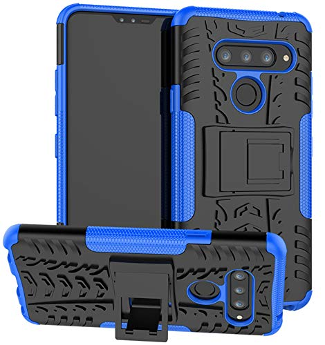 LG V40 Case, LG V40 ThinQ Case, Yiakeng Dual Layer Shockproof Wallet Slim Protective with Kickstand Hard Phone Cases Cover for LG V40 Storm (Blue)