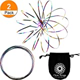 Maxdot 2 Pack Flow Ring Spinner Ring Arm Slinky Toy Interactive 3D Sculpture Ring for Kids Teens Adults Spinning Metal Globe Slides Down Arms (Mixed Color)