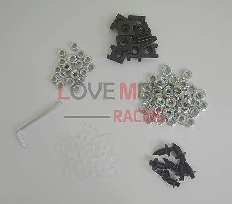 bullone per Z750S clip dell/'elemento di fissaggio con viti in alluminio Nero Argento carenatura complete da moto LoveMoto Kit vite