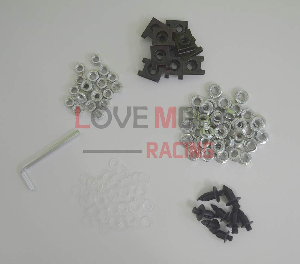 LoveMoto Full Motorcycle Fairings Bolt Screw Kits for YZF-600 YZF 600 R6 06 07 YZF600 R6 2006 2007 Aluminium Screws Fastener Clips Silver