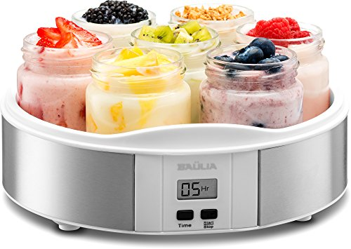 Baulia YM805 Auto Yogurt Maker, Includes 7 Glass 6 Oz Jars and Lids, Custom Flavor and Thickness, Silver by Baulia (Image #1)