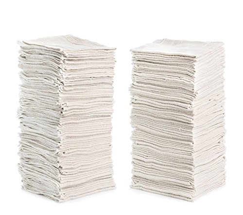 Shop Towels (Pack of 100) 12 X 14 Reusable Cotton Towels - Perfect for Cleaning, Home, Mechanic, Automotive, Machines and Janitorial (Natural/White)