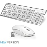 JOYACCESS Wireless Keyboards Combo Full-size Whisper-quiet Compact Keyboards and Mouse Combo (UK layout)-Silver