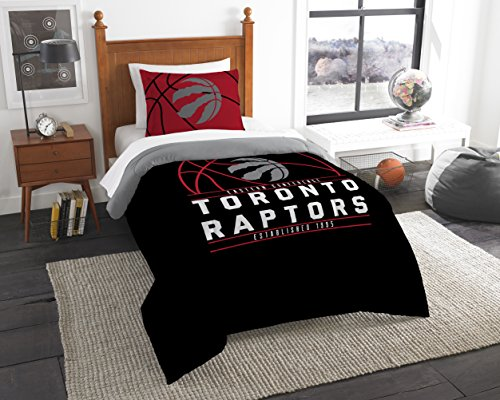 Officially Licensed NBA Toronto Raptors Reverse Slam Full/Queen Comforter and 2 Sham Set (Bedding Toronto Sets)
