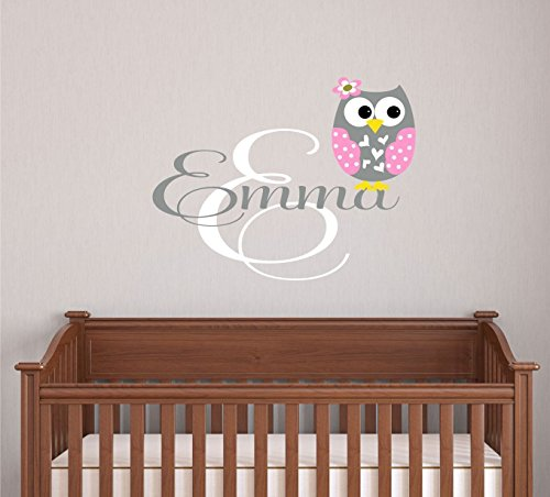 Owl Decor - Owl Name Wall Decal - Name Vinyl Decal - Name Vinyl Wall Decals Nursery - Name Wall Decals - Owl Decor - SF - made in the USA